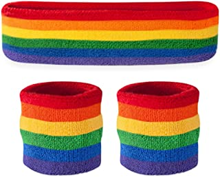 Suddora Striped Sweatband Set - (1 Headband and 2 Wristbands) Cotton for Sports & More.