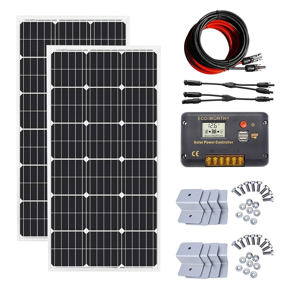 ECO-WORTHY 200W ソーラーパネルキット: 2個 100W 単結晶ソーラーパネル + 9m ソーラーケーブル+ 20A チャージコントローラー + Y 型コネクター + Z 取付金具