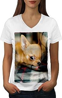 Wellcoda Chihuahua Chien Mignonne Animal Femme T-Shirt /à col en V Repos/ T-Shirt Graphique