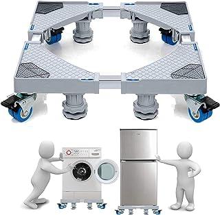 Easma 洗濯機 台 冷蔵庫 台 耐荷重600kg キャスター付 かさ上げ コンテナ台車 全自動式 ドラム式洗濯機 対応 防振 パッド 付き 減音効果 騒音対策 ステインレス製 メーカー保証付