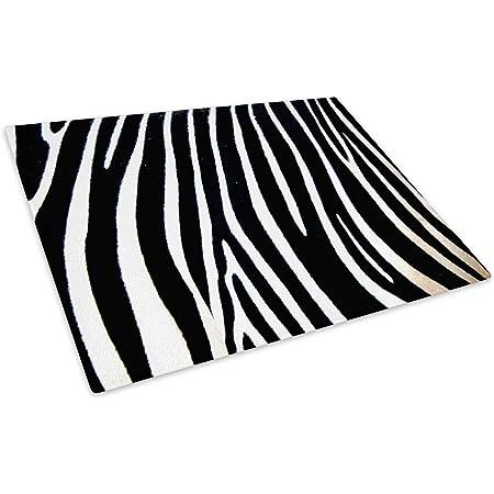 Black White Stripes Glass Chopping Board Kitchen Worktop Saver
