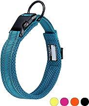 Collar para Perros Pequeños Grandes Medianos Reflectante Suave Acolchado Impermeable Ajustable Transpirable con Etiqueta de Nombre para Caminar Correr Trekking Entrenamiento (Azul, M)