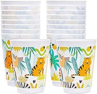 16 oz Plastic Tumbler Cups, Jungle Safari Party Supplies (16 Pack)
