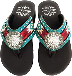 Montana West Women Flip Flops Aztec Embroidery Design Crystal Concho Turquoise
