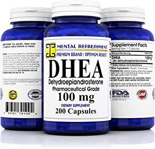 Pure DHEA – 100 mg Max Strength – 200 Capsules – Supports Balanced..