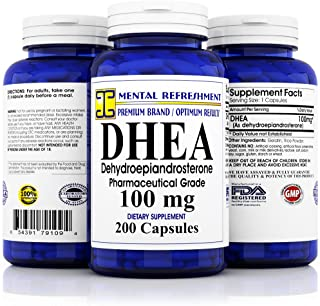 Pure DHEA - 100 mg Max Strength - 200 Capsules - Supports Balanced Hormone Levels for Women & Men, Healthy Metabolism, Bra...