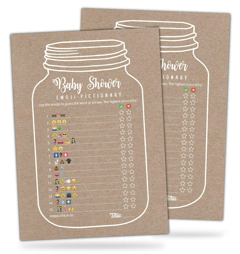 30 Mason Jar Emoji Pictionary Baby Shower Games Cute Fun Baby Shower Game To Play For Girls Boys Or Gender Neutral Shower Party Baby Guessing Game Idea For Women Men Mommy