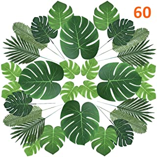 CADNLY Tropical Palm Leaves Decorations - 60 pcs 6 Kinds Fake Leaves for Luau Jungle Theme Party Supplies Safari Decorations Artificial Tropical Leaves for Dinosaur Hawaiian Party Table Decoration