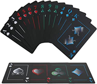 Joyoldelf Creative Playing Cards, Plastic PVC Waterproof Poker Deck of Cards with Black Backing in Box for Cardistry, Magic Trick and Party (Black)
