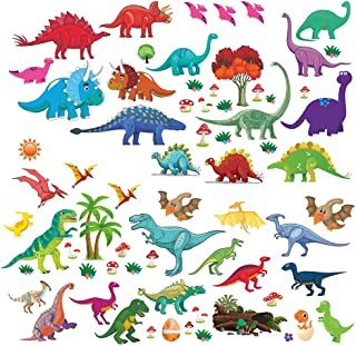 Lemostaar 77pcs Wall Decals Dino & Friends Decorative Dinosaur Stickers for Boys & Girls, Peel and Stick Colorful Wall Art Mural for Bedroom, Baby Nursery, Classroom & More
