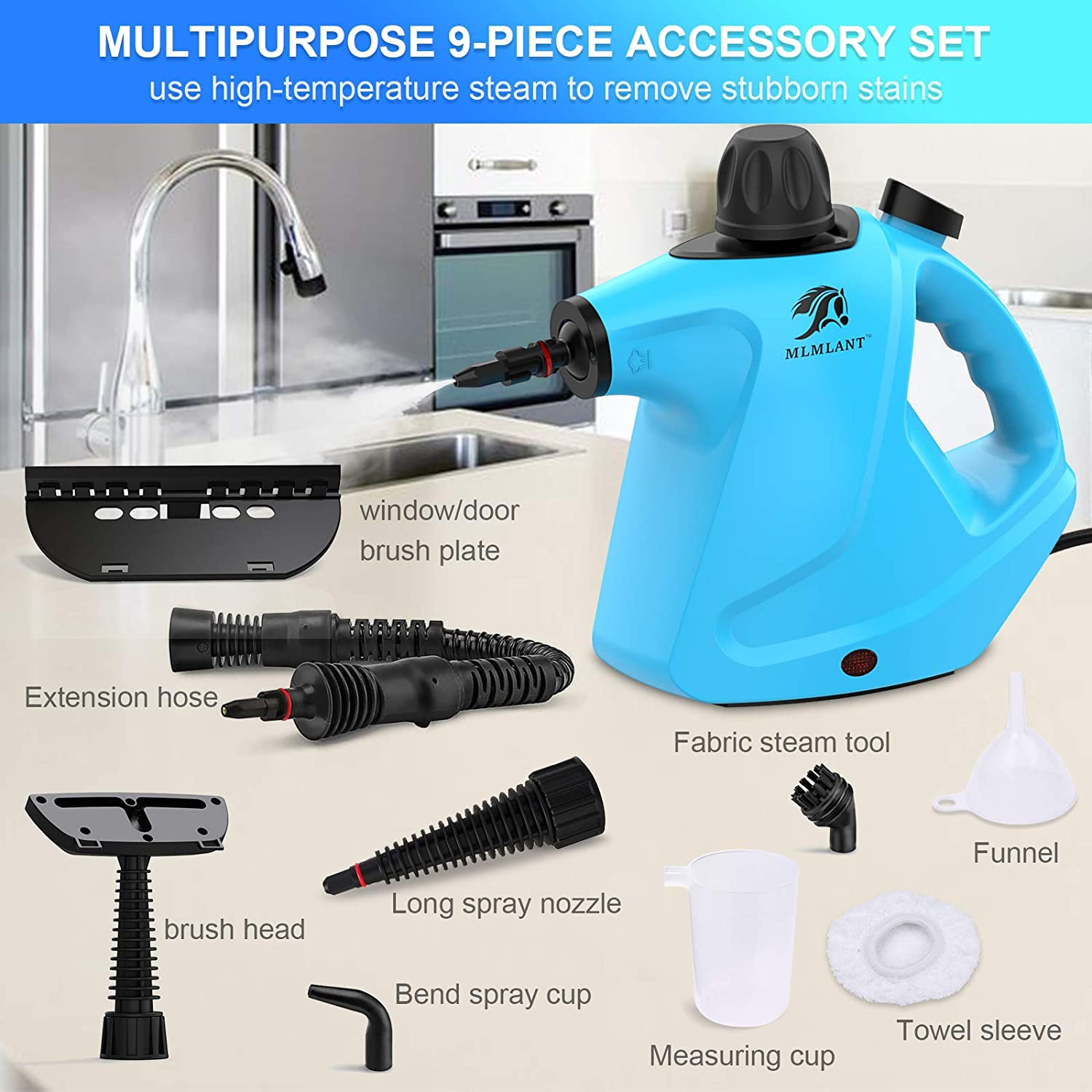 MLMLANT Steam Cleaners,Handheld Steamers Cleaning, Multi Purpose Portable Grout,450milliliter Tank Capacity, for Upholstery Sofa Curtain Shower Carpet Window Car Tile Kitchen Patio Home Use Machine
