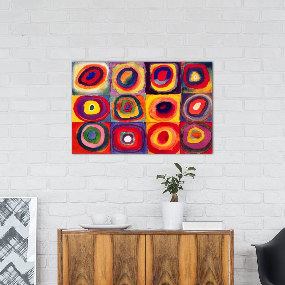 Amazon Com Icanvasart Squares With Concentric Circles By Wassily Kandinsky Canvas Print 11426 40 X26 75 Deep Posters Prints