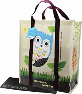 EcoJeannie 1 Pack Super Strong X-Large Laminated Woven Reusable Shopping Tote Bag (Avail: Set of 1,2,3,4,5 Bags), Free Standing, Recycled Plastic w/Bottom Board & Reinforced Nylon Handle - WT0001