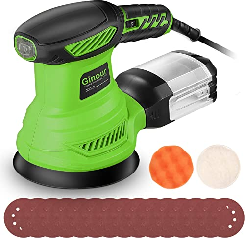 popular ginour Random Orbit Sander, 6 Variable Speeds Palm Sander 13000 RPM with 15 Sandpapers (P80x5, P120x5, P180x7) & Sponge, Wool high quality Disc, Dust Collection System, sale Ideal for Sanding, Finishing, Polishing Wood online sale
