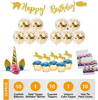 Unicorn Birthday Party Supplies Decorations: 32 Pack With Quality Gold Confetti Balloons, Cake Decoration, Cupcake Toppers, Banner and Magical Enchanted Hair Ties Favors For Girls, Boys, Pink, Gold