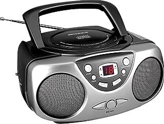 Sylvania SRCD243 Portable CD Player with AM/FM Radio, Boombox (Black)