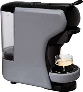IKOHS Máquina de café espresso italiana - Cafetera de múltiples cápsulas 3 en 1 compatible con Nespresso, 19 barras con 2 programas de café, tanque extraíble, 0,7 l, compacta, 1450 W, apagado automático gris