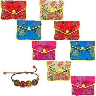 GemEwell Pack of 8 (Mid Size) Jewelry Organizer Silk Purse Pouch Chinese Brocade Zipper Gift Pack Bags (with 1 Ceramic Bracelet)