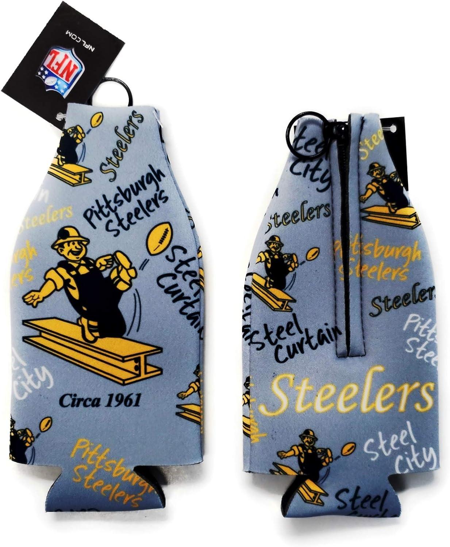 Steelers Retro Flashback Design 2-Pack Zipper Bottle Neoprene Beverage Holder Cooler Coolie Football