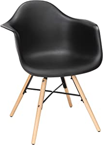 OFM 161 Collection 4 Pack Mid Century Modern Plastic Molded Accent Chairs with Arms, Dining Chairs, Beechwood Legs with Wire Accent, in Black