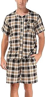 Akalnny Men's Pyjamas 100% Cotton Short Sleeve PJ's Set Check Top & Pants Pajama Nightwear Summer