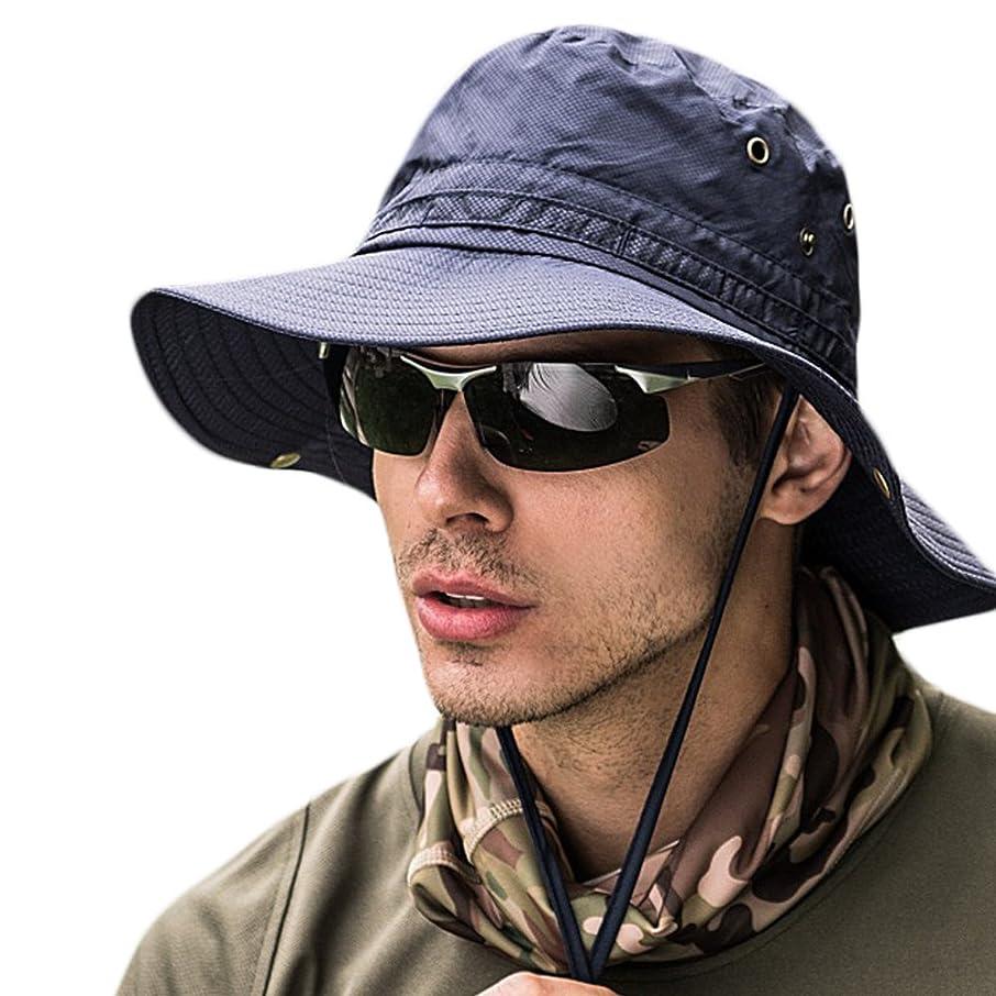 ディスカウント敬礼真実サファリハット メンズ 帽子 つば広 軽薄 通気性抜群 日除け 紫外線対策 uvカット 折りたたみ あご紐付き アウトドア 釣り ハイキング 登山 男女兼用