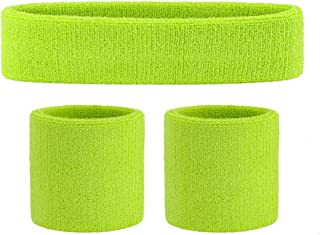 OnUpgo Kids Sweatbands Headband Wristband Set - Athletic Cotton Sweat Band for Sports (1 Headband + 2 Wristbands)
