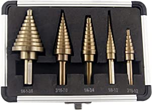 Segomo Tools 5 Piece SAE Multiple Hole 50 Sizes HSS Cobalt Step Drill Bit Set with Aluminum Case