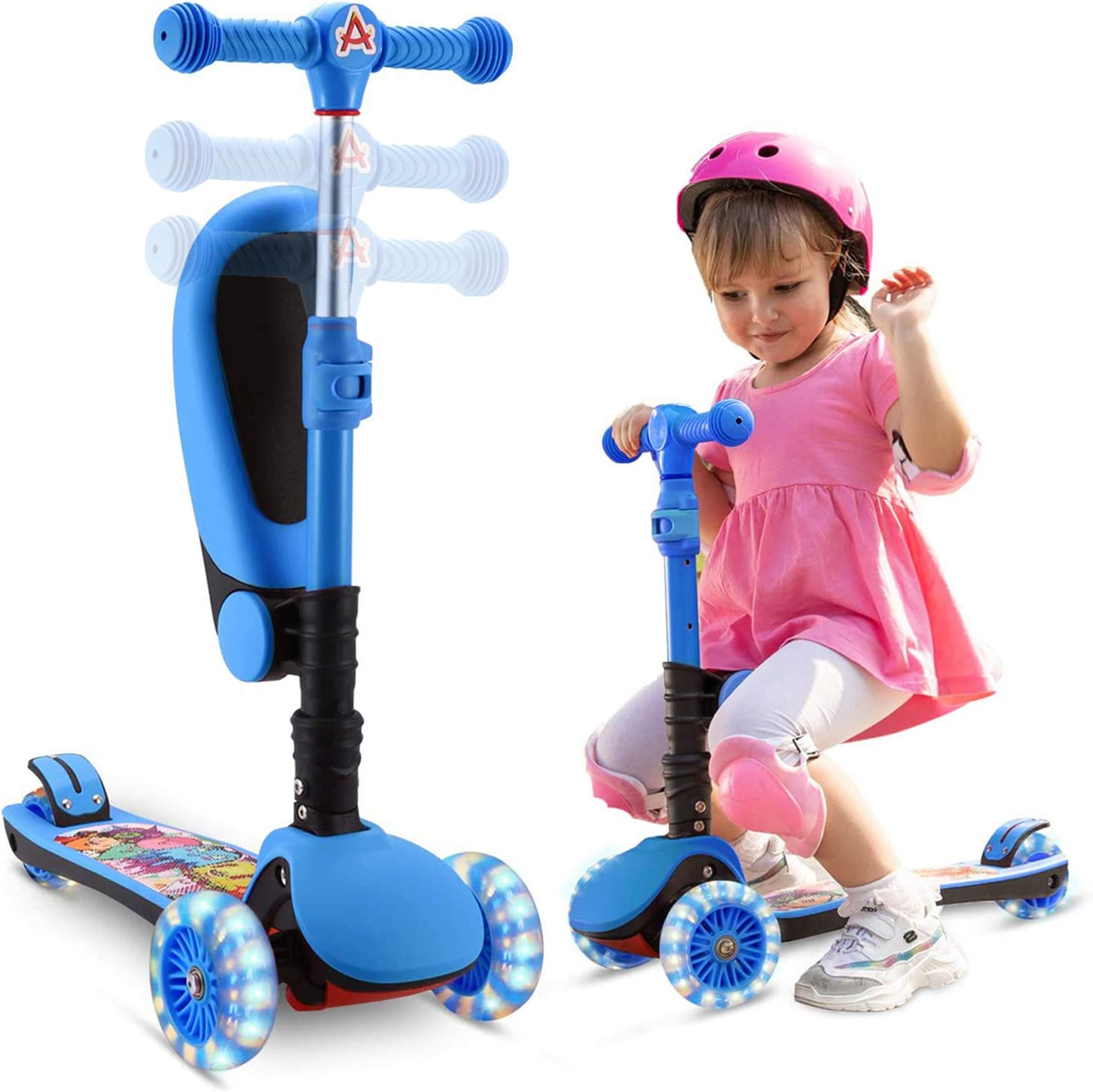 Adjustable 2-In-1 Balance Scooter With Removable Seat Great For Kids Toddlers US