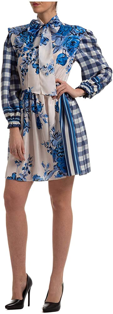 Alberta ferretti,abito, vestito corto per donna blu,100% seta, manica lunga A041916521298