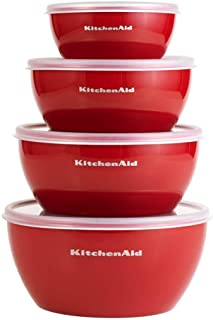 KitchenAid Classic Prep Bowls with Lids, Set of 4, Empire Red