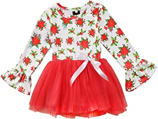 Happy Town Toddler Baby Girls Clothes Flare Long Sleeve Floral Sleeve Dress Mesh Tutu Skirt for Girls