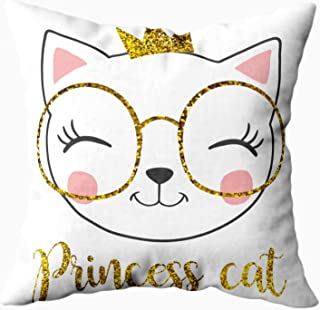 ROOLAYS Square Throw Pillowcase Covers 18X18Inch Cute Princess Cat Glitter Crown Easter Both Sides Print Zip Pillow Cases Farmhouse Decor Cushion