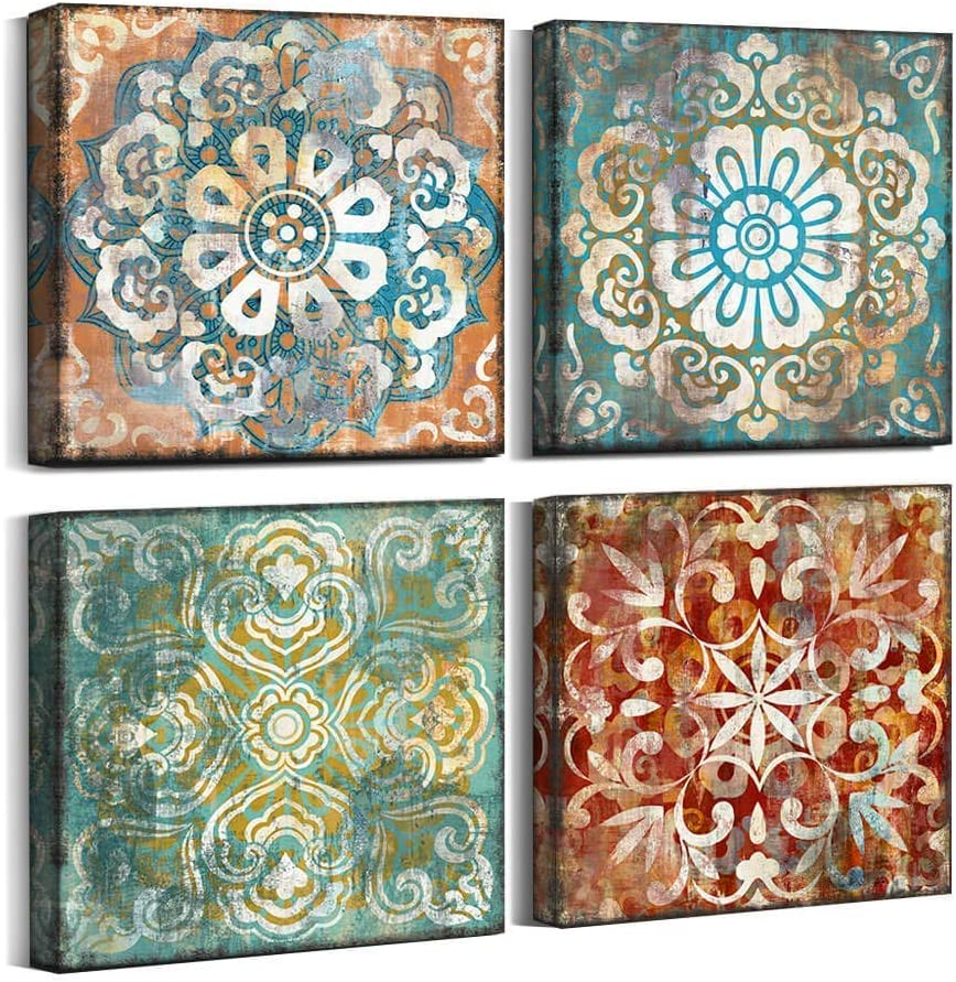 Vintage Flowers Pattern Canvas Super intense SALE Prints Bedroom 14x14 Art for Wall Clearance SALE! Limited time!