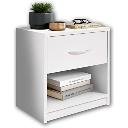 Stella Trading Pepe Blanche-Table de Chevet Simple avec Un tiroir Convenant à Chaque lit et Chambre à Coucher, Bois, Blanc, 39 x 41 x 28 cm