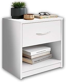 Stella Trading Pepe Blanche-Table de Chevet Simple avec Un tiroir Convenant à Chaque lit et Chambre à Coucher, Bois, Blanc...