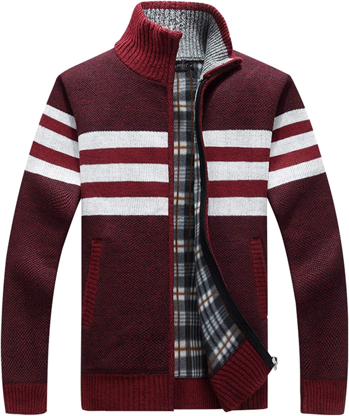 HaoMay Men's Causal Slim Zip-up Knitted Stripe Cardigans Sweater with Pockets
