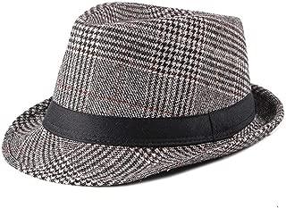ZJSWIN Autumn and Winter New Men's Woolen Jazz hat Plaid hat Ladies Casual hat (Color : Coffee)