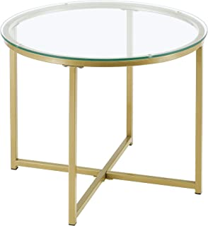 Table d'Appoint pour Salon Table Ronde Design Bouts de Canapé de Salon Plateau en Verre Pieds Croisés en Acier 50 x 42 cm