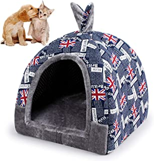 UTOPIAY The Union Jack Pet Bed Cat lgloo Bed Dog cave Bed Winter Closed House for Pet Foldable Non-Slip Washable Christmas Halloween Four Seasons Available,L