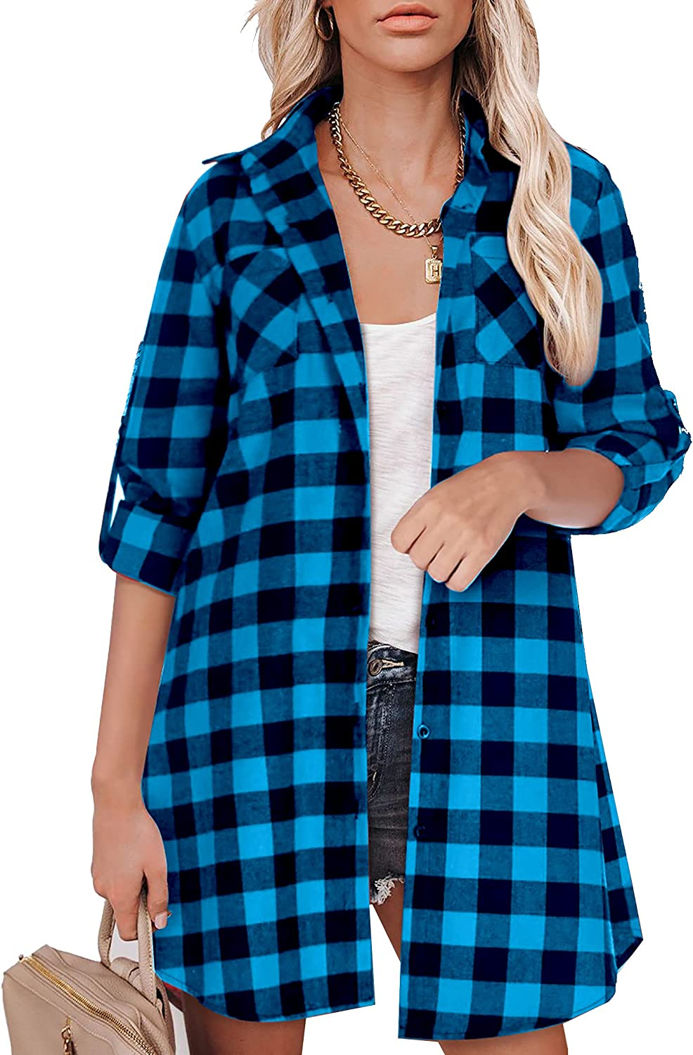 Hotouch Womens Flannel Plaid Shirts Roll Up Long Sleeve Pockets Casual Button Down Long Shirts