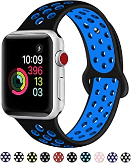 DOBSTFY Sport Band Compatible with iWatch Bands 38mm 40mm 42mm 44mm,Soft Silicone Sport Band Replacement Wristband for iWatch Band Series 5 4 3 2 1, Nike+, Sport, Edition, S/M M/L for Women Men