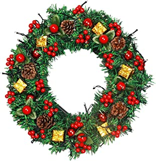 """Kerykwan Christmas 12"""" Artificial Wreath with Pine Cones Red Berries Gift Box Interior&Exterior Christmas Decorations Green Garland Hang on Door Stair Wall Window-Lights Not Included(Christmas-A, 12"""