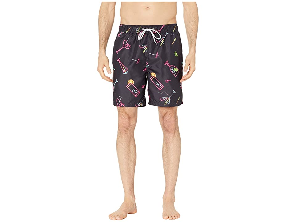 U.S. Surf Club Neon Cocktails Swim Shorts (Black) Men