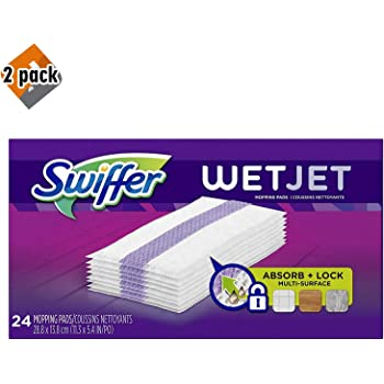 Swiffer Wetjet Hardwood Mop Pad Refills for Floor Mopping and Cleaning, All Purpose Multi Surface Floor Cleaning Product, 24 Count - 2 Pack