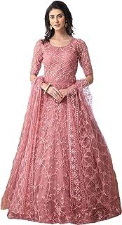 Bollyclues Women's Mono Net Embroidered Pink Semi Stitch Gown(BC-Chain_Semi Stitch)