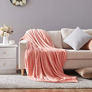 Hboemde Soft Summer Blanket Throw/Travel Size Fleece Warm Fuzzy Throw Blankets Lightweight Microfiber for Couch Bed Sofa All Season(Coral Pink,50x60)