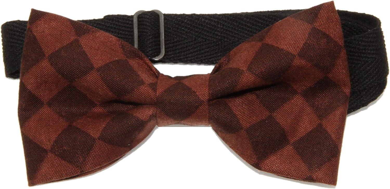 Men's Brown Checkered/Argyle Pre-Tied Cotton Adjustable Bow Tie