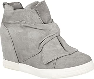 Fashion Thirsty Womens Mid High Heel Wedges Sneakers Hi Tops Bow Trainers Knot Shoes