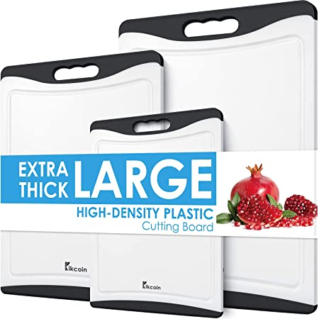Extra Large Cutting Board, Plastic Cutting Board for Kitchen Dishwasher Safe Non Slip Chopping Board Set of 3 with Juice Grooves, Easy Grip Handle, Black, Kikcoin